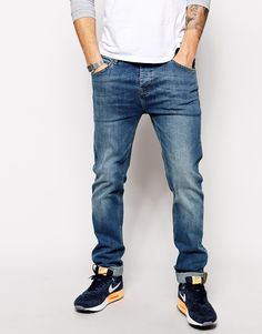 ASOS Stretch Slim Jeans In Mid Wash