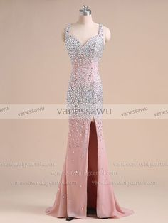 Vanessawu — Pink Prom Dress with Beaded Straps, All Over Sequined Sheath Prom Dress with Side Slit, #020101638