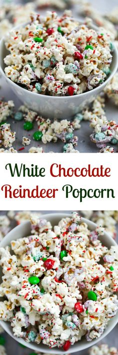 An easy popcorn mix that comes together in 5 minutes! White Chocolate Reindeer P… An easy popcorn mix that comes together in 5 minutes! White Chocolate Reindeer Popcorn is perfect for Christmas or to make all year round. Holiday Snacks, Christmas Party Food, Christmas Appetizers, Christmas Sweets, Christmas Cooking, Holiday Recipes, Cozy Christmas, Christmas Music, Christmas Recipes
