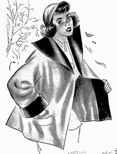 """ANOS DOURADOS: IMAGENS & FATOS: FATOS - MODA Casacos femininos para o inverno de 1952.  Em pura lã """"vendôme"""", com moderna gola exagerada e costas arqueadas ajustando-se nos quadris."""