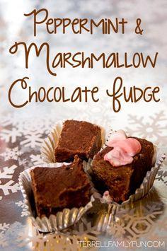 Easy Peppermint & Marshmallow Chocolate Fudge Recipe, Fast Chocolate Fudge Recipe #ad #HolidaysMadeSimple