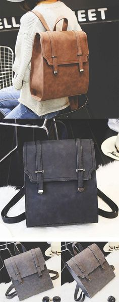 Retro Matte Square PU Metal Lock Match Large Scrub College Backpack for big sale! #matte #square #PU #metal #retro#backpack #bag #rucksack #college #student #school #new #camping #outdoor