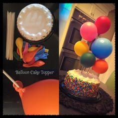 Balloon Cake Topper made with kabob sticks in different lengths. also sprinkles on the sides of cake/smash cake Balloon Birthday Cakes, 2 Birthday Cake, Balloon Cake, 1st Birthday Parties, Balloon Party, Wedding Cake Fresh Flowers, Birthday Activities, Party Cakes, Cake Toppers