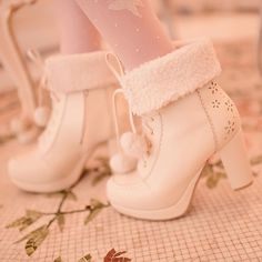 """1,579 Likes, 4 Comments - Spree Picky (@spreepicky) on Instagram: """"I love these shoes, soo fluffy!! White/Pink/Apricot Fluffy Snowball Platform Heigh Heel Shoes…"""""""
