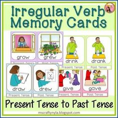 Irregular Verbs Memory Game: Use this set of verb cards which feature present tense and past tense of irregular verbs as a memory game, verb flash cards, or as a flip book. #verbs $ #ela