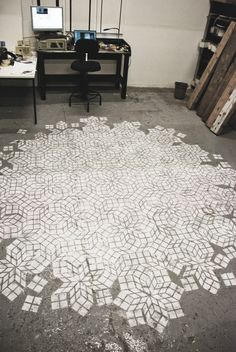 Studio: factory floor.Original grey. Cracks due to giant bits of metal stored here well befor...