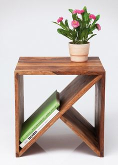 Wood side table with magazine rack