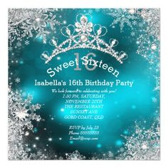 Sweet Sixteen Winter Wonderland Silver Teal Custom Invitation. Snowflakes and tiara crown. Formal and glamorous sweet 16 winter birthday invite. Artwork designed by Zizzago