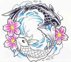 For justin but without the flowers koi fish yin and yang for Koi fish yin yang tattoo