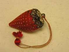 Antique Sewing Emery Strawberry Pin Cushion w/Sterling Top