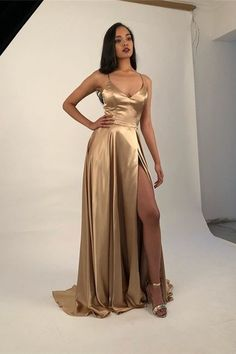 Sexy Prom Dress with Slit, Evening Dress ,Winter Formal Dress, Pageant Dance Dresses, Graduation School Party Gown - Proom Dress Gold Evening Dresses, Winter Formal Dresses, Winter Dress Outfits, Dress Winter, Gold Formal Dress, Long Gold Prom Dresses, Long Gold Dress, Spring Dresses, Wedding Dresses