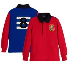 Polo Ralph Lauren - Boys Red Cotton Rugby Polo Top | Childrensalon