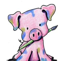 Pink PIG Art Original Illustration paintbrush Piglet by KiniArt