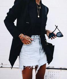 Denim Skirt + Blazer.