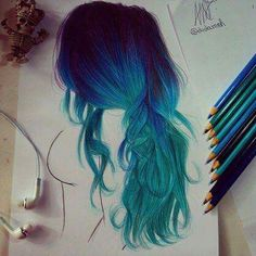Beautiful blue hair colored pencil drawing.