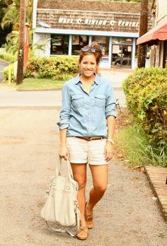 jean button-down, khaki shorts & sperries