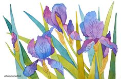 """Here's another painting I completed during our Mother's Day watercolor fest. This was a lesson featured in Fiona Peart's book, """"Vibrant Flowers in Watercolor."""" Watercolors on hot pressed Acquarello..."""