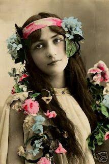 Vintage photograph woman colorful flowers headband
