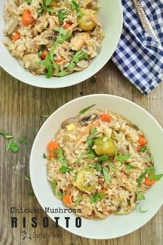 Chicken mushroom risotto with vegetables cooked in rich homemade chicken broth and white wine.