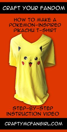 Make a Pokemon DIY Pikachu t shirt. A fun & easy iron on transfer craft tutorial with Step-by-Step instruction video. Gotta make them all! from craftymcfangirl