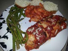 Eggplant parmigana, gnocchi,  & garlic crusted asparagus