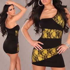 Woman sexy one-shoulder  minidress black and yellow with black lace which can fit from a 38 till a 44 (italian size ) one size