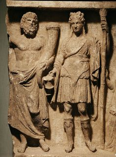 Pluto and Bendis (Thracian goddess) Terracotta relief (400 BCE)