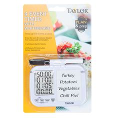 Simultaneously clock up to four cooking cycles or other events on a single screen with the Taylor 5849 single view four event timer! This four event timer comes with a white board and dry erase pen so you can make notes next to each event to ensure superior organization. Each timer can track up to 23 hours and 59 minutes and is capable of counting up or down. Furthermore, it is equipped with a unique alarm that sounds at the end of a timing cycle. <br><br>Four buttons allow you to...