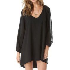 Slit Sleeve Design V-Neck Solid Color Arc-Shaped Hem Women's Dress