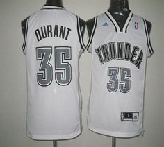 Thunder  35 Kevin Durant White on White Stitched NBA Jersey Durant Nba 238d2642a