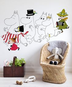 The Moomins Wallpaper   ___  #Moomin #wallpaper #tapet #wallmural #kidsroom #ToveJansson #moomincom #tapetti