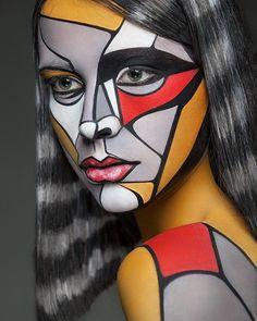 Art of Face par Alexander Khokhlov : Maquillage sur Photo Portraits (video) - MaxiTendance Maquillage Halloween, Halloween Makeup, Clown Makeup, Halloween Costumes, Alexander Khokhlov, Art Visage, Famous Artists, Face Art, 3d Face