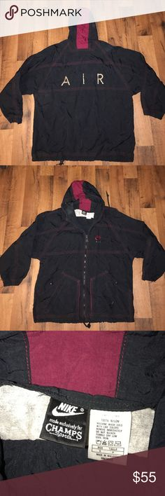 Vintage Small Nike Air Windbreaker Jacket Black Rare, only made for Champs stores Nike Jackets & Coats Windbreakers