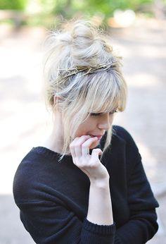 DIY gold twig hair pins
