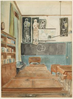 The Boys' 5th Form Classroom (1918) This is a very early work by Bawden, completed when he was fifteen, and showing a classroom at the Friends' School Saffron Walden, which he attended. At that time he was spending a day a week at the Cambridge School of Art.