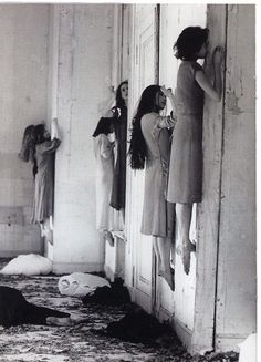 slobbering:  Visual from the 1977 German expressionist dance performance of Blaubart (Bluebeard) choreographed by Pina Bausch.  It was the inspiration for scenes of American Horror Story: Coven.