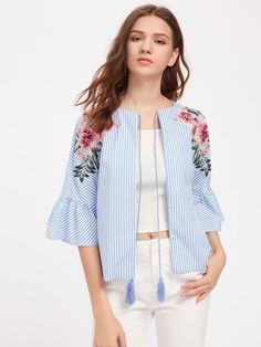 SheIn offers Embroidered Flower Patch Fluted Sleeve Tassel Tie Blouse & more to fit your fashionable needs. Lace Dress With Sleeves, Bell Sleeve Dress, Chiffon Dress, Ruffle Sleeve, Tie Blouse, Shirt Blouses, Embroidered Flowers, Embroidered Patch, Flower Embroidery