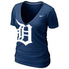 Detroit Tigers Women's Deep V Burnout T-Shirt by Nike