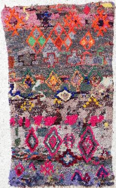 Vintage moroccan boucherouite tribal rag rug. Mine. Going to use it as a wall hanging in my office.