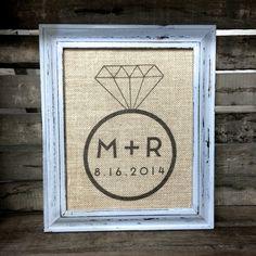 Modern Engagement Ring Burlap Art Print - Customized - Personalized Engagement Gift - Wedding Gift - Bridal Shower Gift - Anniversary Gift