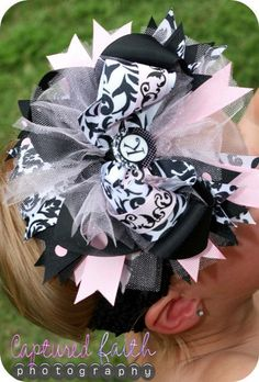 Damask Light Pink Dot Over-the-Top HAIR BOW with customizable initial center via Etsy
