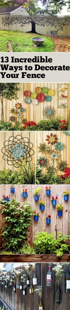 DIY Garden Decor Gardening Projects Yard and Landscaping DIYs Decorate Your Fence How to Decorate Your Fence DIY Yard Projects Popular Pin Garden Crafts, Diy Garden Decor, Garden Art, Garden Design, Fence Garden, Fence Design, Backyard Projects, Outdoor Projects, Garden Projects