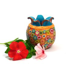 Floral clay vase Polymeri vessel each one unique clay by sigalsart, $23.00