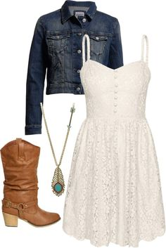 White lace dress, denim jacket, brown boots, long turquoise necklace.