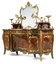Blaise & ThÉodore Millet 1853-1918 AN IMPRESSIVE LOUIS XV REVIVAL GILT BRONZE MOUNTED KINGWOOD, SATINÉ, MOSS AGATHE AND ROUGE GRIOTTE MARBLE DRESSING TABLE Paris, circa 1890