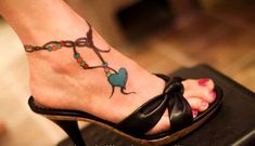 Colorful Heart Anklet Tattoo for Women - i'd replace heart w/something else, but. Ankle Tattoo Designs, Ankle Tattoos, Foot Tattoos, Sleeve Tattoos, Heart Tattoos, Tatoos, Anklet Tattoos For Women, Best Tattoos For Women, Trendy Tattoos