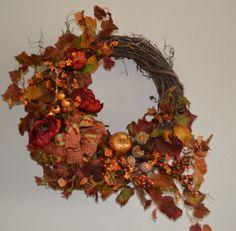 Fall Wreath, Harvest Wreath, Peony Wreath, Door Wreath, Harvest Wreath, Front Door Wreath, Gourd Wreath, Red Peony Wreath by TheBloomingWreath on Etsy Wreaths For Front Door, Door Wreaths, Red Peonies, Sunflower Wreaths, Fall Wreaths, Gourds, Peony, Harvest, Decor