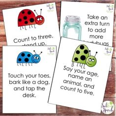 Art therapy activities for children Listening Ladybugs - ing Directions activity for Speech Therapy from SublimeSpeech Speech Therapy Activities, Language Activities, Preschool Activities, Play Therapy, Therapy Ideas, Articulation Activities, Listening Activities For Kids, Language Games For Kids, Morning Activities