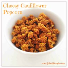 http://www.julieslifestyle.com/cheesy-cauliflower-popcorn/ Are You Crazy About Cheese Puffs, Peanuts & Salty Chips? Try This Cheesy Cauliflower Popcorn. It's the Perfect Raw Vegan Snack to Satisfy Your Salt Cravings! #RawFood #RawVegan #RawFoodRecipe #RawVeganRecipe