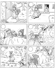 Werkblad Roodkapje Knip en Plak in de juiste volgorde. Kleur nu de plaatjes mooi in! Little Red Ridinghood Worksheet. Look, cut out the pictures, put them in the right order, paste and then color them. Sequencing Pictures, Sequencing Cards, Story Sequencing, English Activities, Book Activities, Little Pigs, Little Red, Traditional Tales, Picture Composition